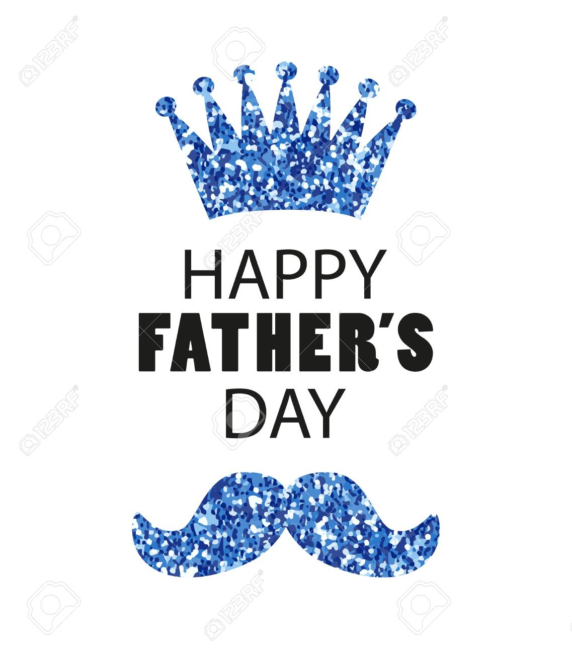 Cute Fathers Day Card As Big Glitter Heart With Mustache Royalty