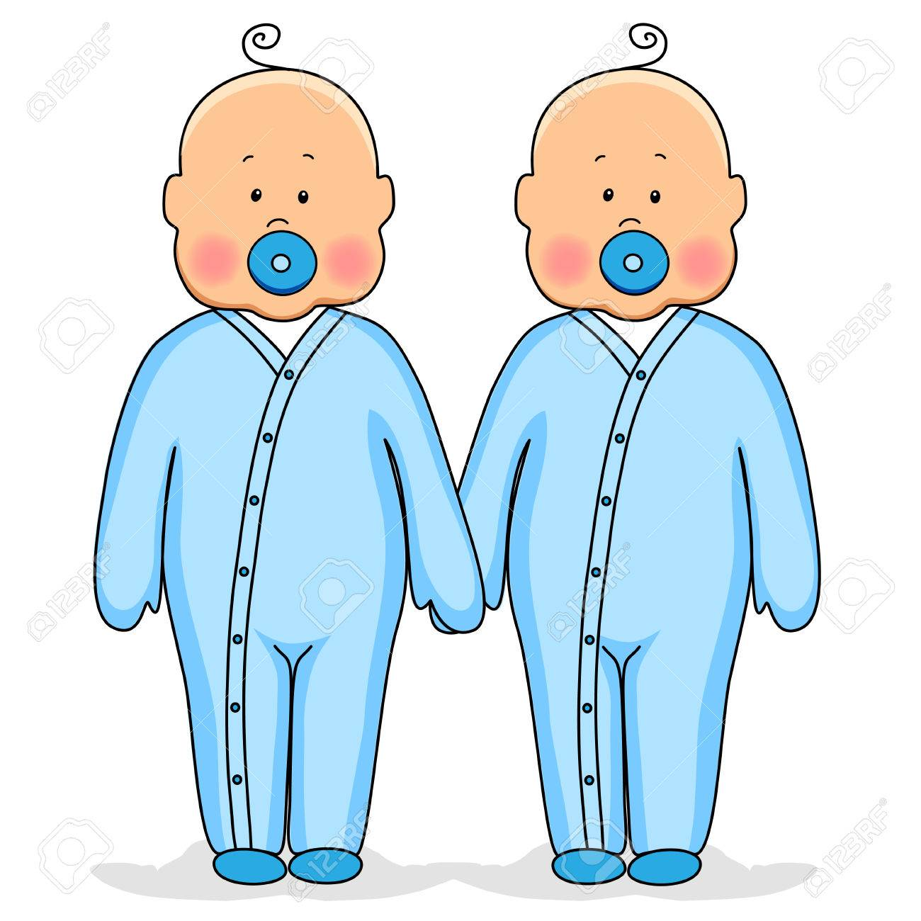 Twins as cute babies holding hands - 77975230