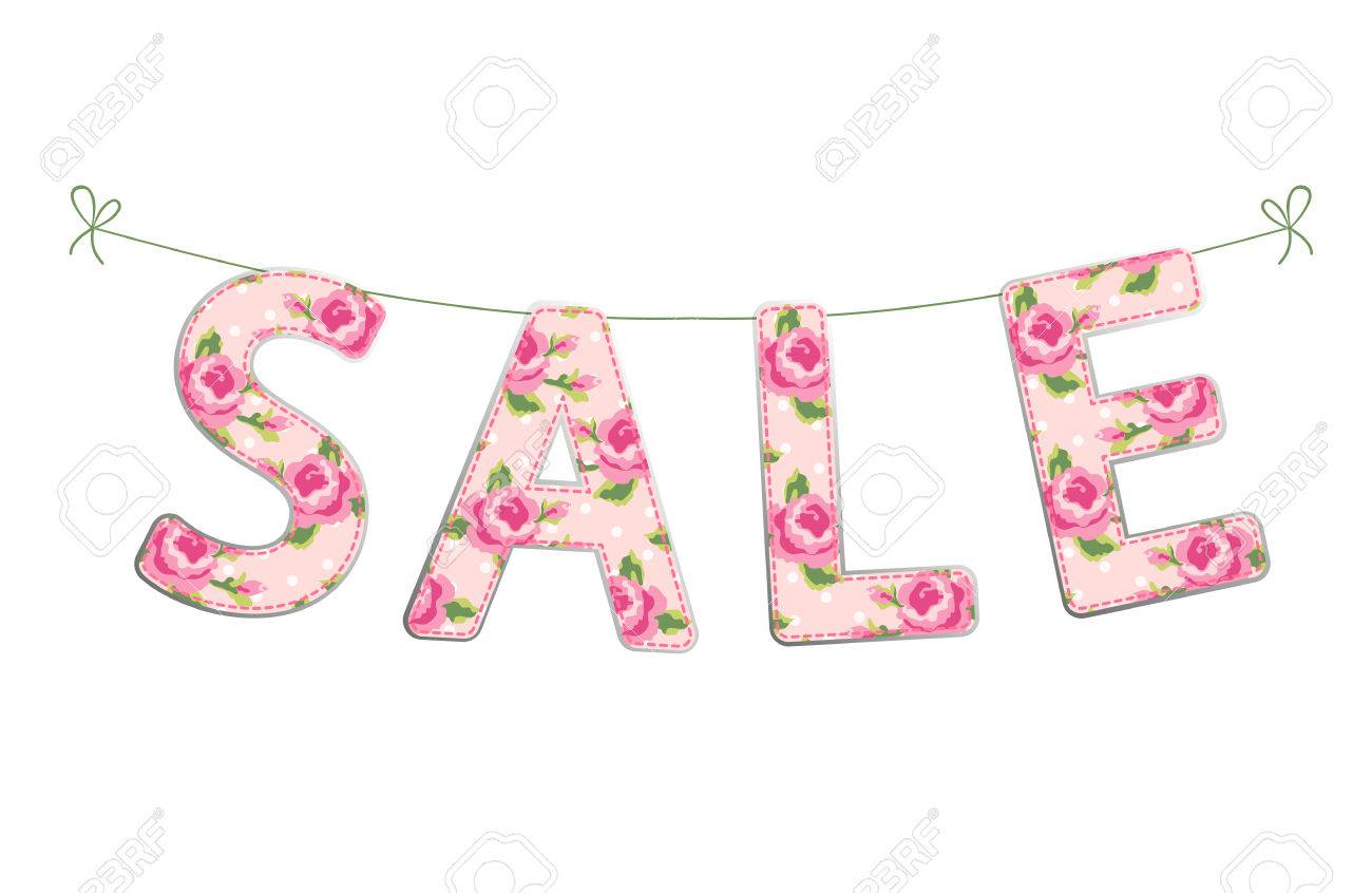 cute banner sale as colorful letters on strings in shabby chic rh 123rf com shabby chic sale shabby chic salon easton md