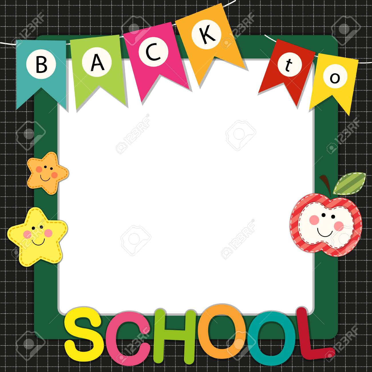 Cute Back To School Frame With Multicolored Flags For Your