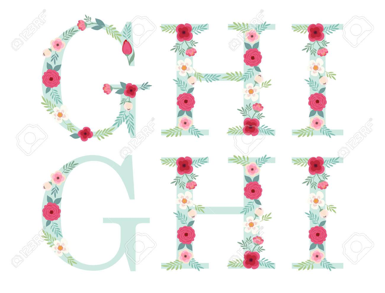 Cute Vintage Alphabet Letters With Hand Drawn Rustic Flowers Stock Vector