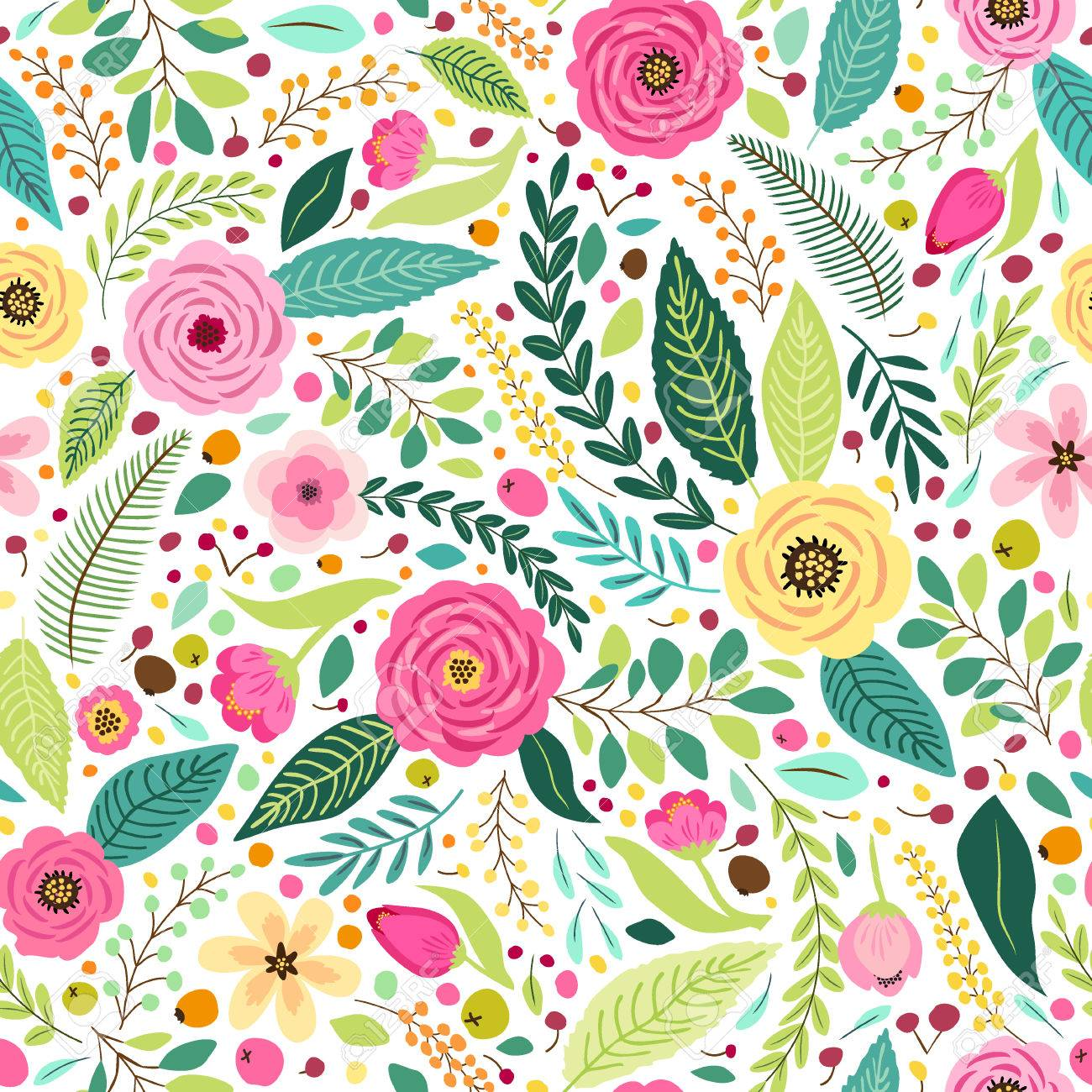 Cute seamless pattern with rustic hand drawn first spring flowers - 80561592