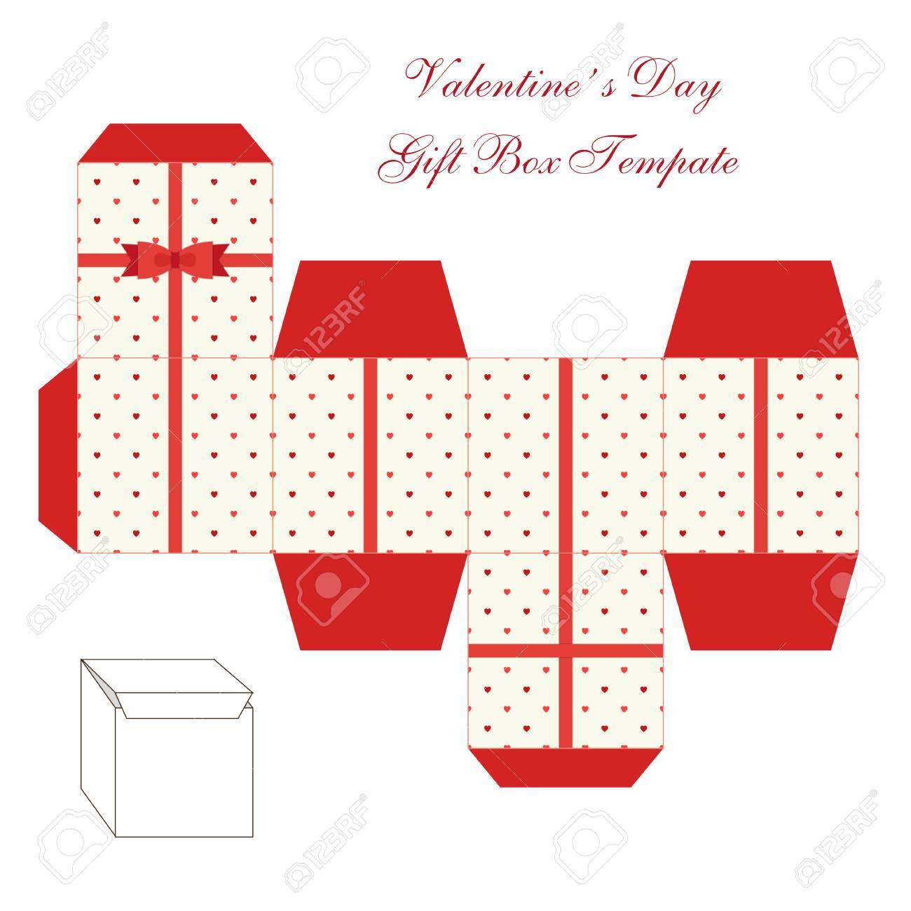 Cute Retro Square Gift Box Template With Hearts Ornament To Print ...