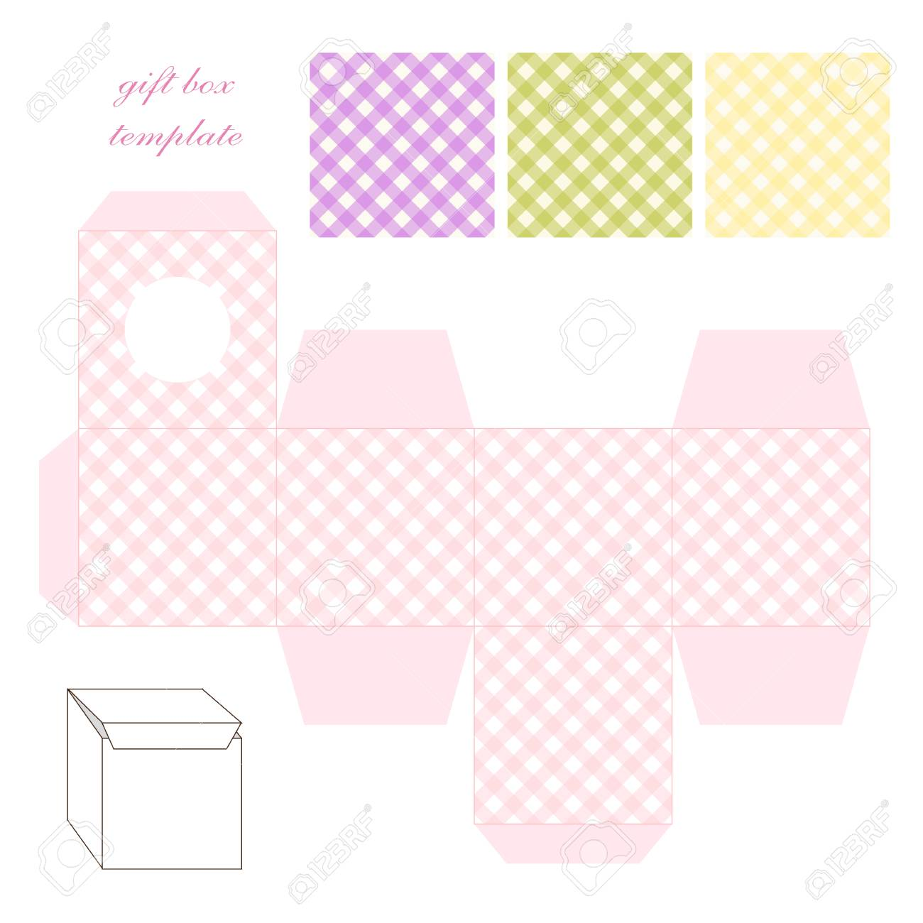 cute retro square gift box template with gingham ornament to