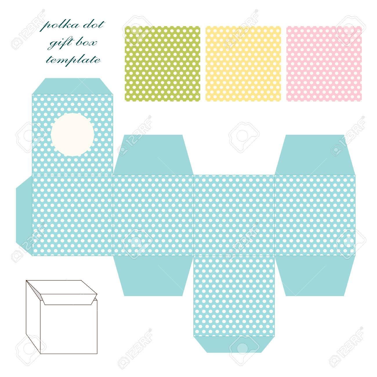 cute retro square gift box template with polka dots ornament