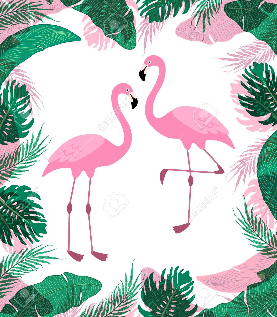 Cute exotic with cartoon characters of two pink flamingos. - 81668579
