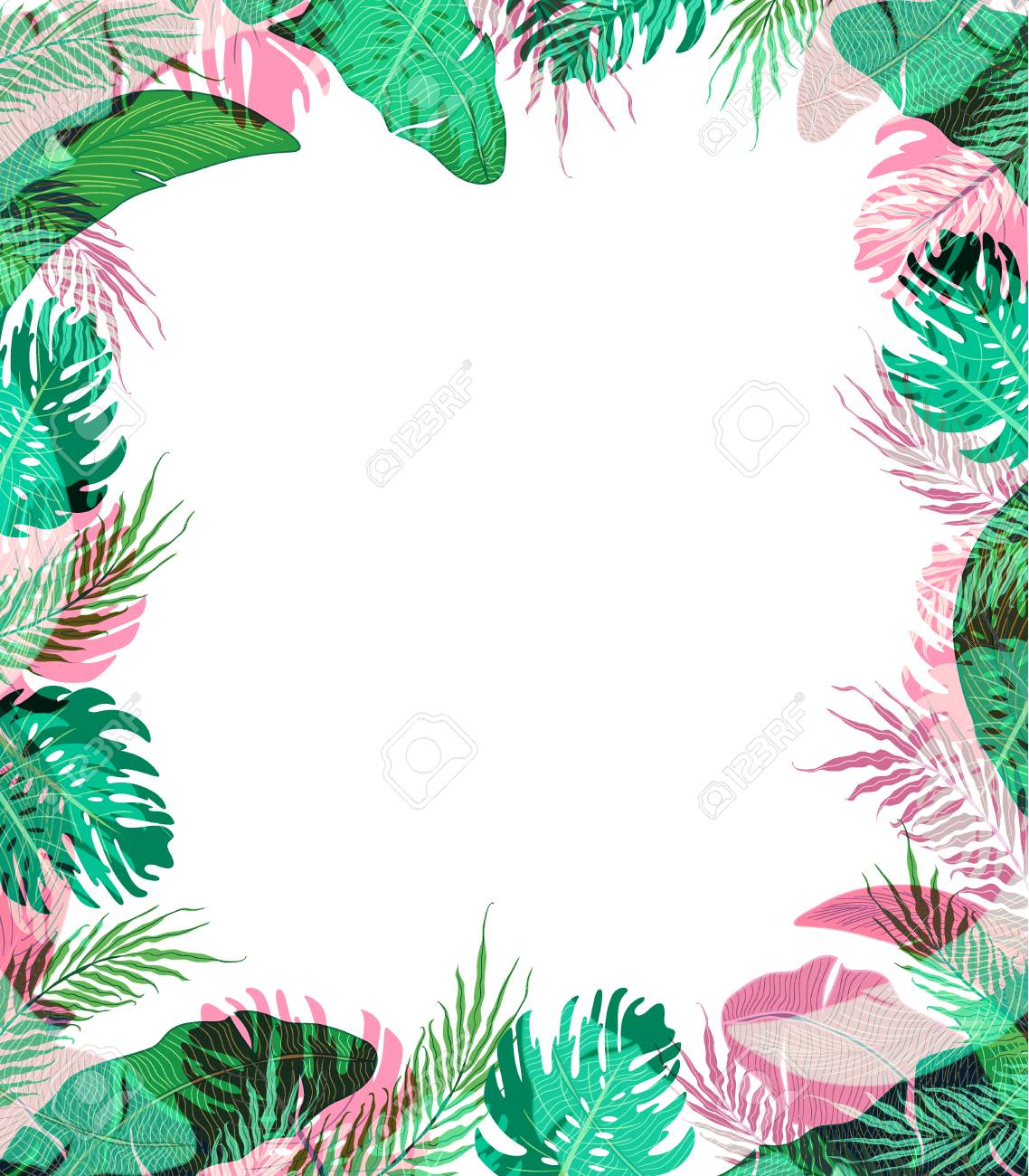 Cute Frame With Summer Tropical Leaves Stock Photo Picture And Royalty Free Image Image 81669311
