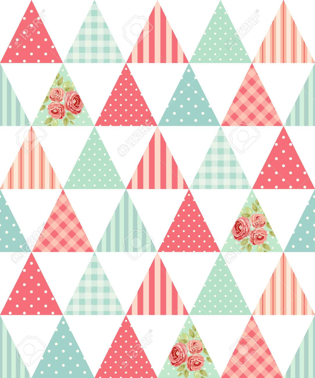 Cute seamless vintage pattern as patchwork in shabby chic style ideal for kitchen textile or bed linen fabrics - 82769843