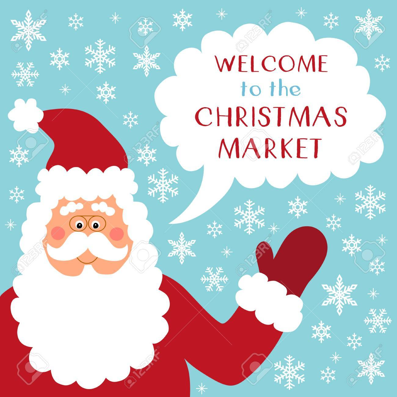 542dceaab7 Cute retro banner with funny cartoon character of Santa Claus with speech  bubble and quote Welcome