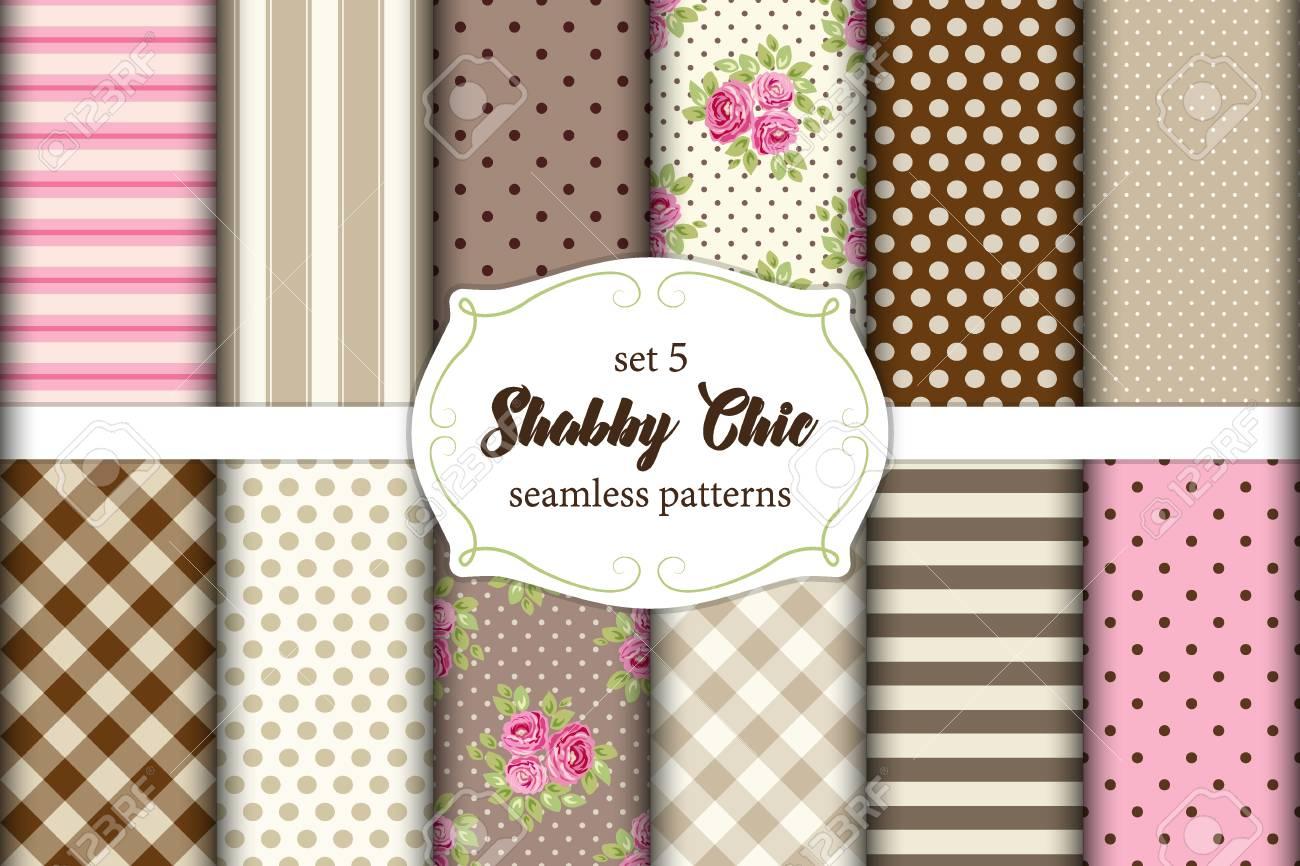 Set Von 12 Niedlichen Shabby Chic Muster Mit Rosen, Tupfen Und Plaid, Ideal  Für