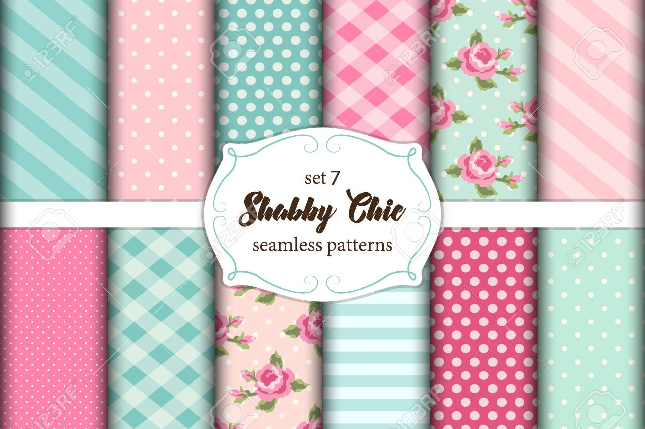 Set of 12 cute shabby chic patterns with roses, polka dots. stripes and plaid. - 84078830