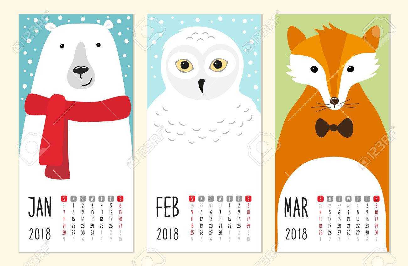 cute 2018 calendar pages with funny cartoon animals characters stock vector 84991736