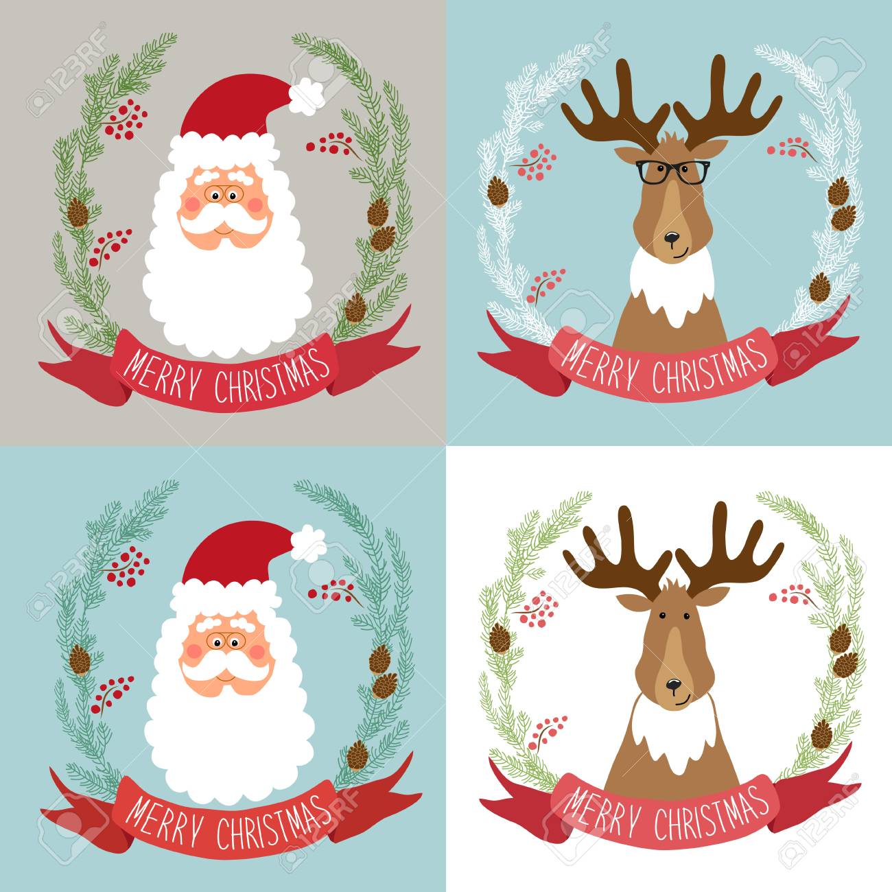 Cute Retro Christmas Cards With Funny Cartoon Characters Of Santa ...