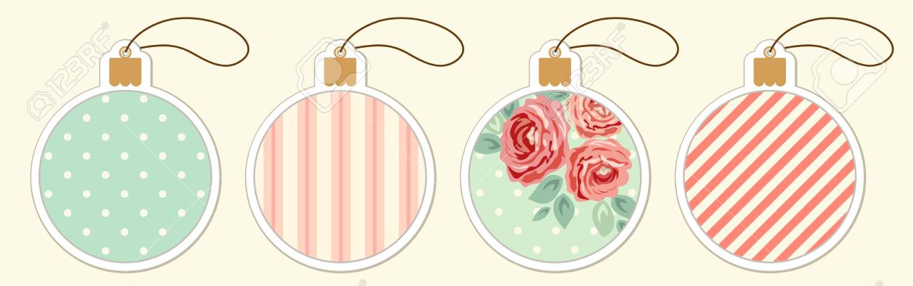set of cute vintage christmas ball price tags in shabby chic