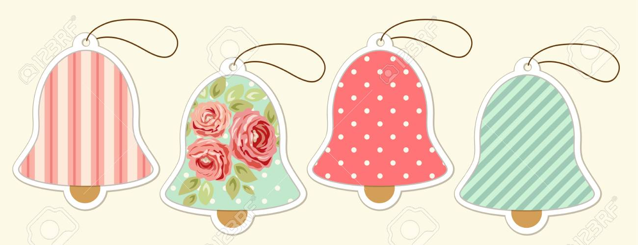 set of cute vintage christmas bell price tags in shabby chic