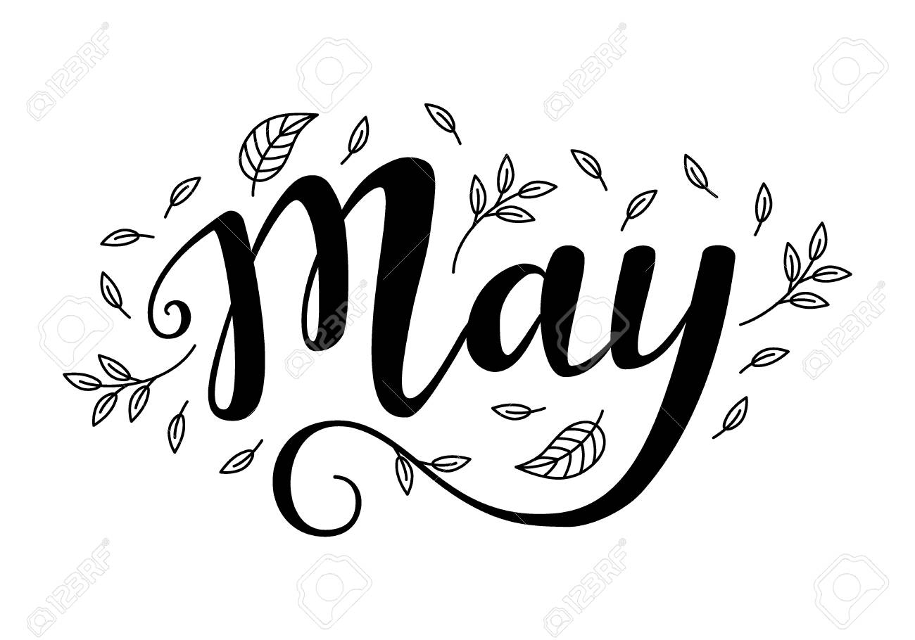 5 月のかわいいブラシ書道のイラスト素材ベクタ Image 85987234