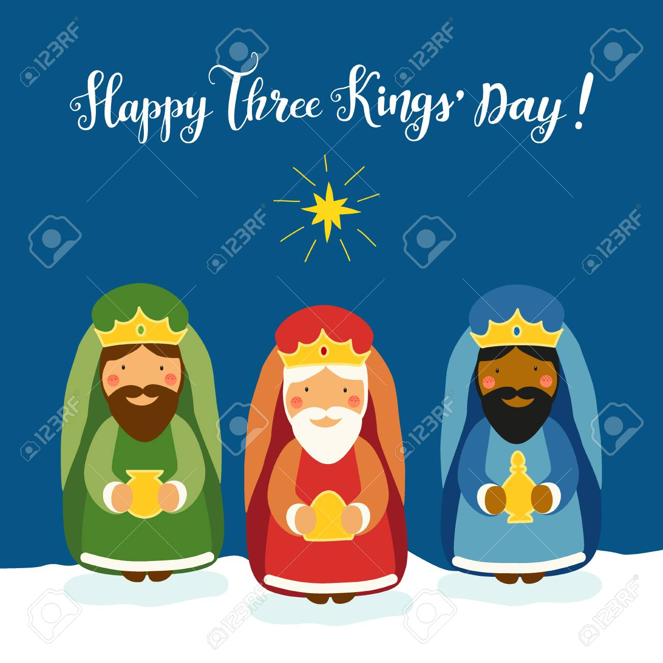 Cute Three Kings Day card with hand drawn characters - 87781535