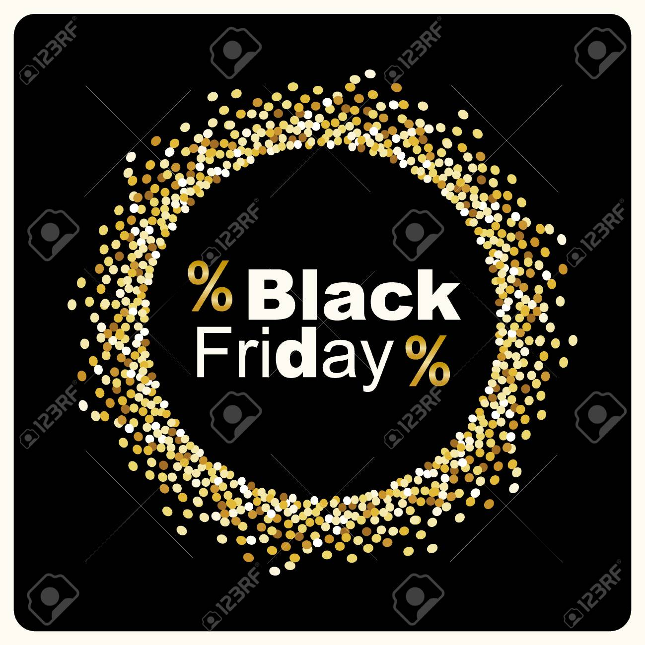 Luxury Black Friday background with gold glitter confetti frame for your decoration - 88329597