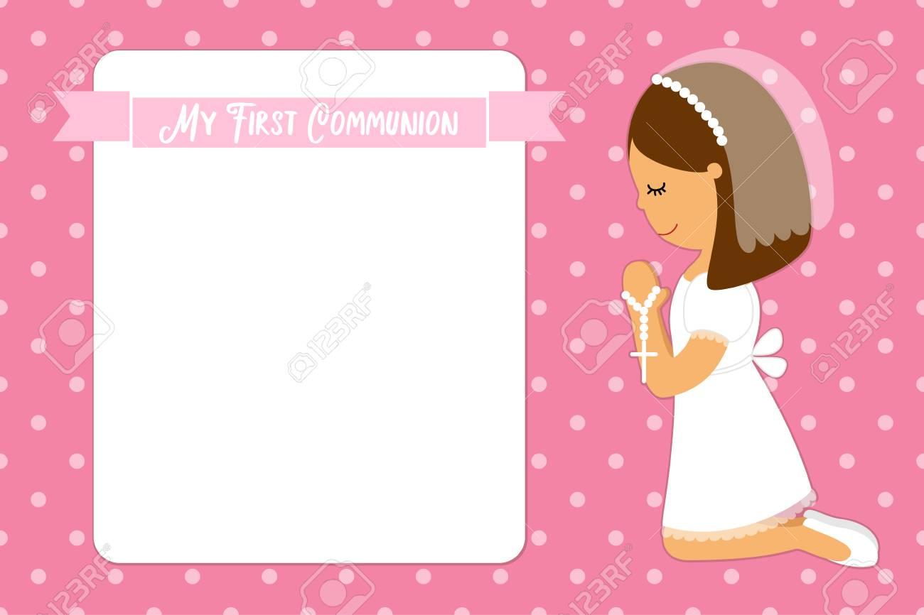 2b5daf3cfefd4 Tarjeta Linda Primera Comunión Para Niñas Ilustraciones Vectoriales ...
