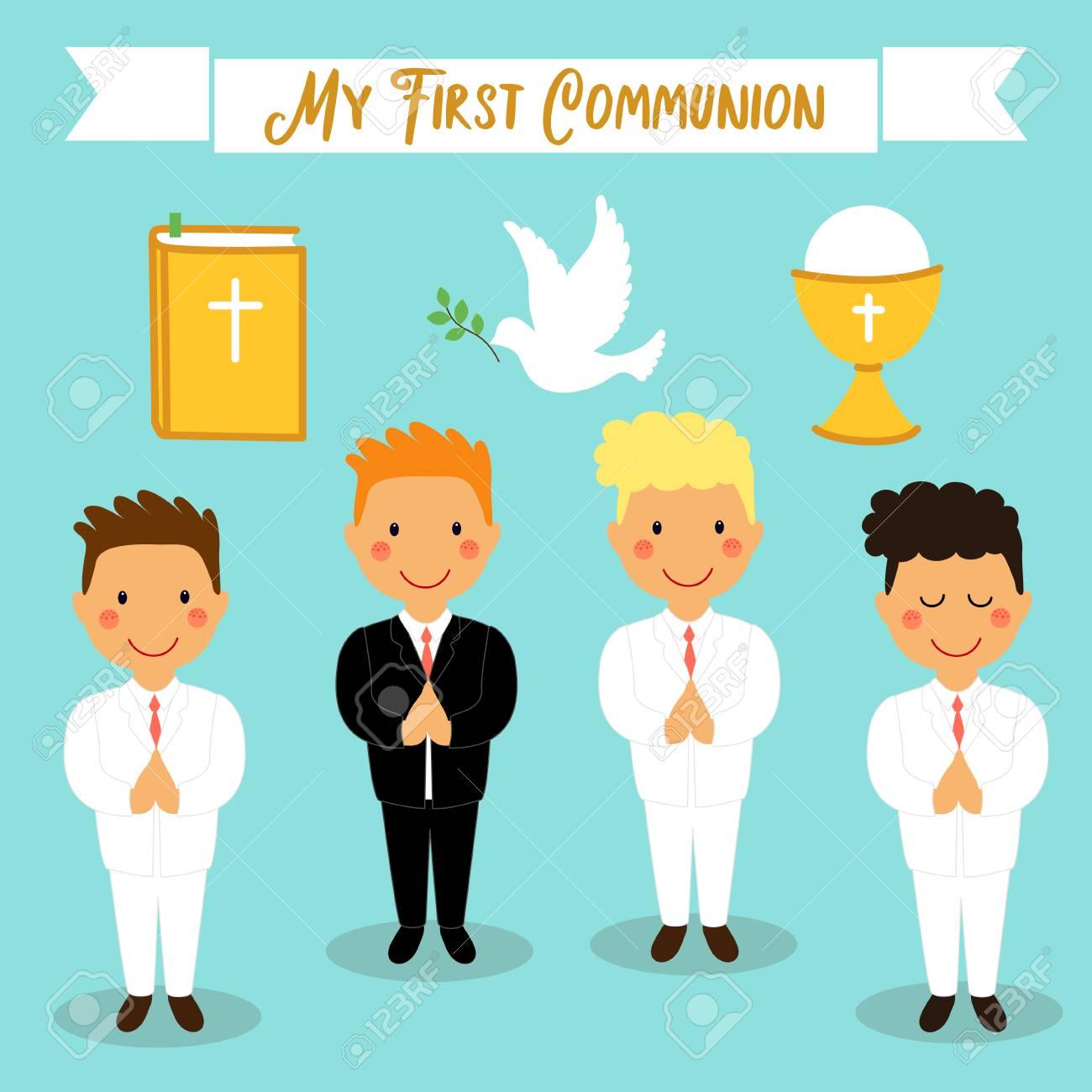 Netter Satz Gestaltungselemente Für Erste Kommunion Als