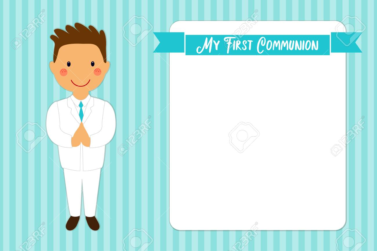 Bonita Tarjeta De Primera Comunión Para Niños En Colores Azules ...