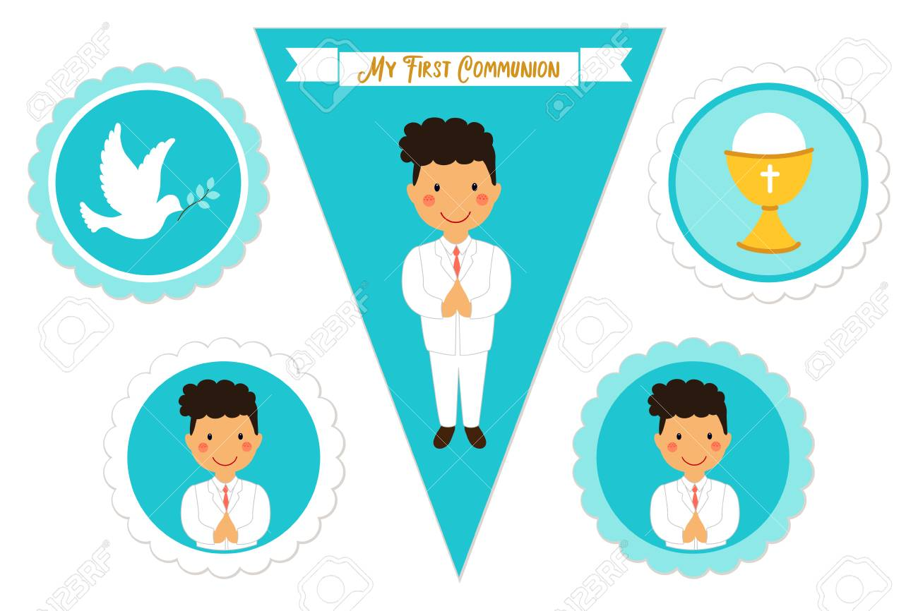 image relating to Printable Elements titled Adorable established of printable products for Very first Communion for boys