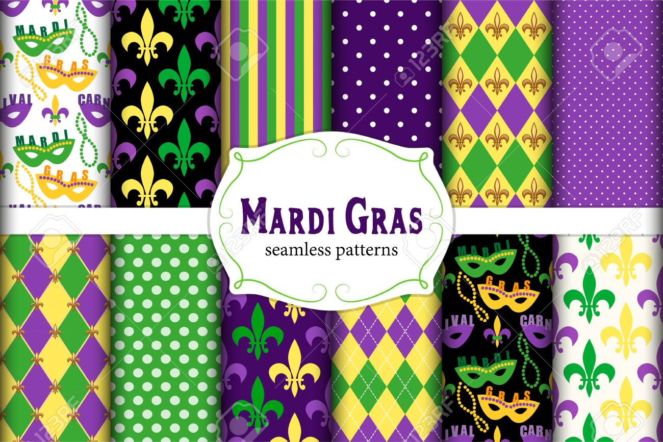 Cute set of 12 seamless Mardi Gras patterns in traditional colors. - 91950472
