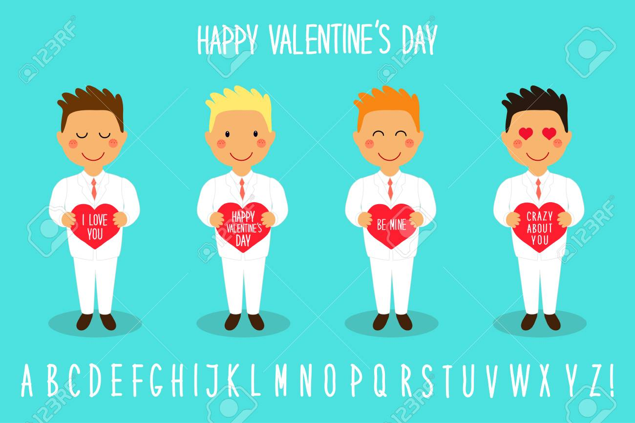 Cute Valentines Day Cartoon Characters Of Loving Boys With Heart