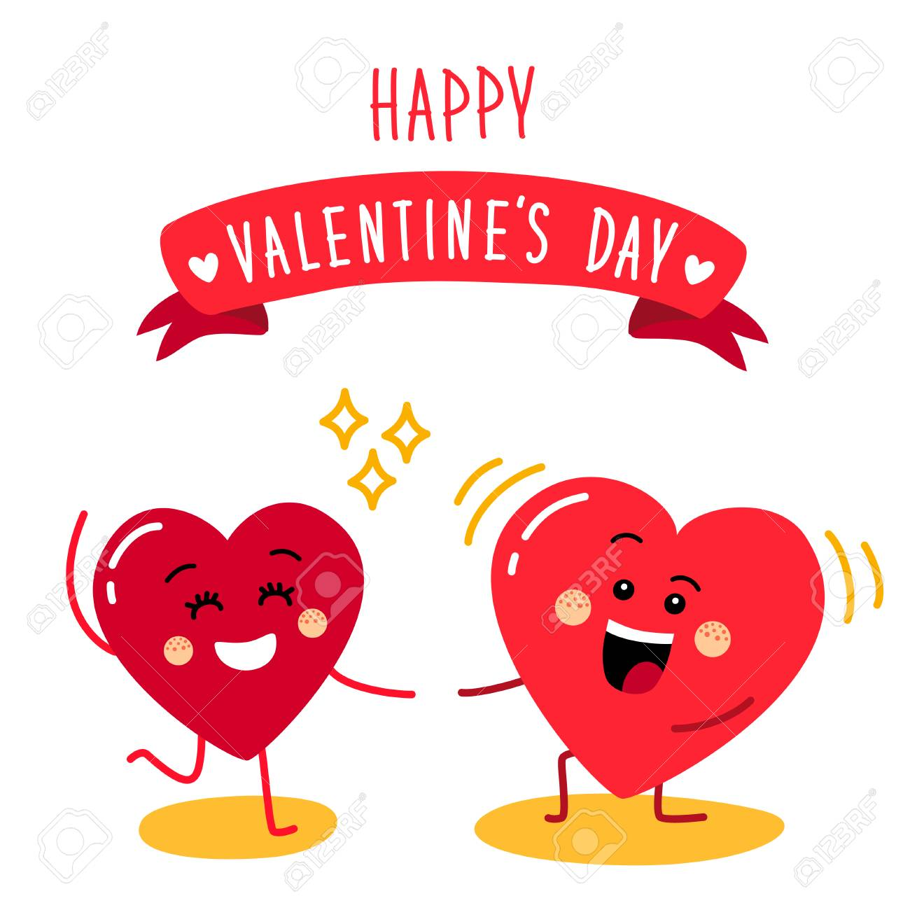 Cute Holiday Valentines Day Card With Funny Cartoon Character Royalty Free Cliparts Vectors And Stock Illustration Image 92276422