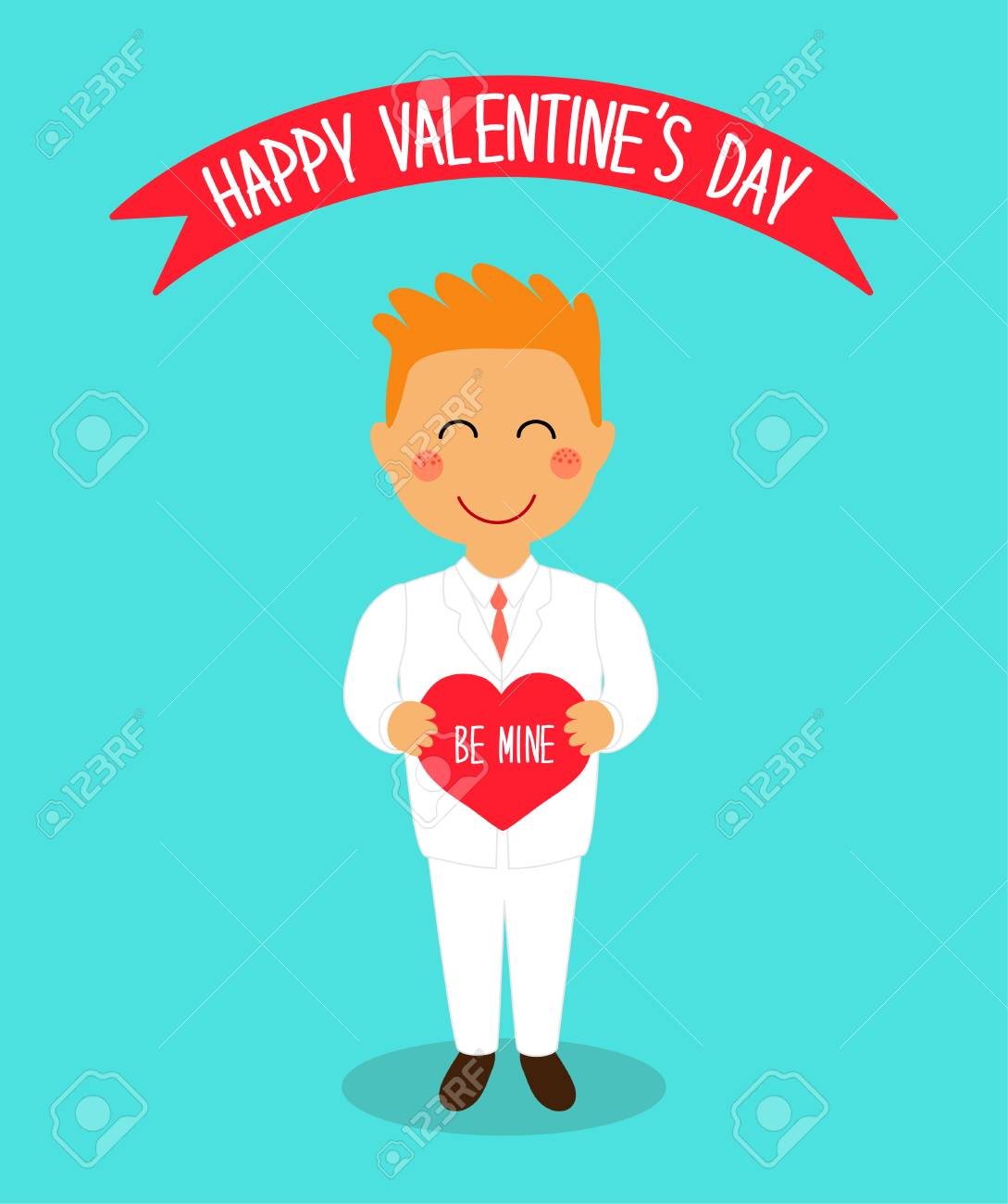 Cute Valentine S Day Card With Funny Cartoon Characters Of Loving