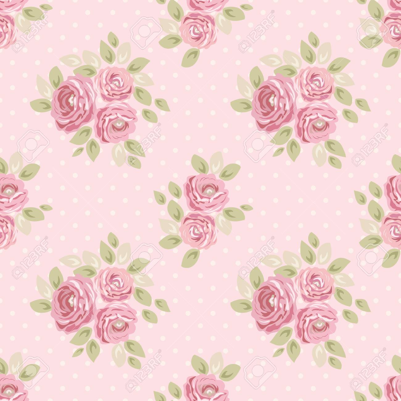 Cute Vintage Seamless Shabby Chic Floral Pattern For Your