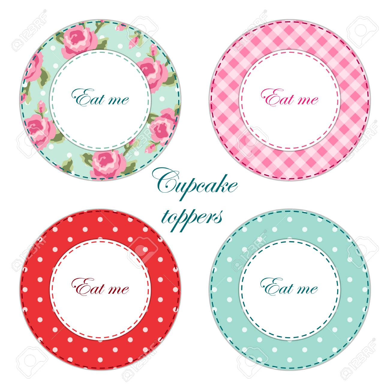 Tea Party Printables As Labelscupcake Toppers Or Tags In Shabby Chic Style Stock