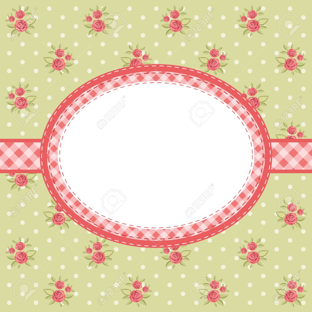Retro Floral Oval Frame With Roses In Shabby Chic Style For Your ...