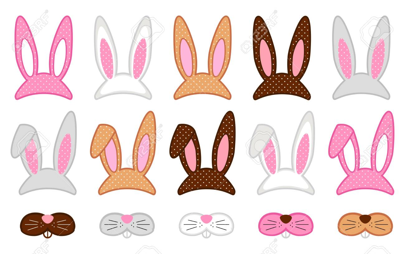 Cute Easter photo booth props as set of party graphic elements of easter bunny costume - 93168352