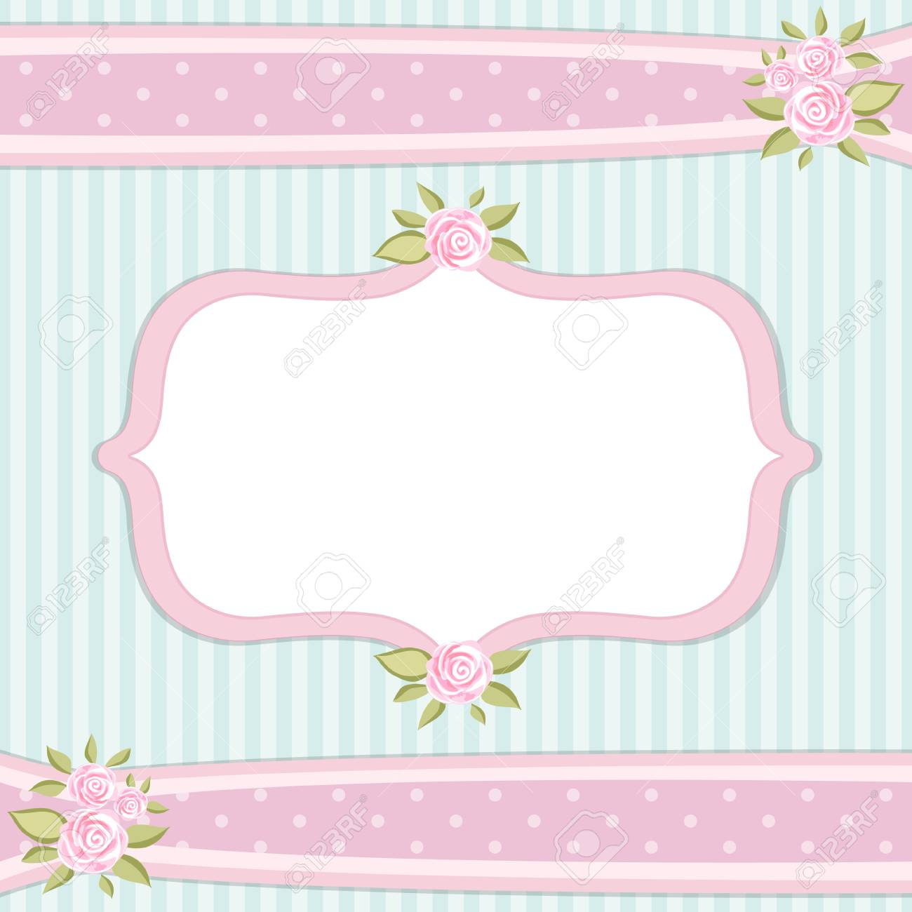 Retro Floral Frame With Roses In Shabby Chic Style Royalty Free