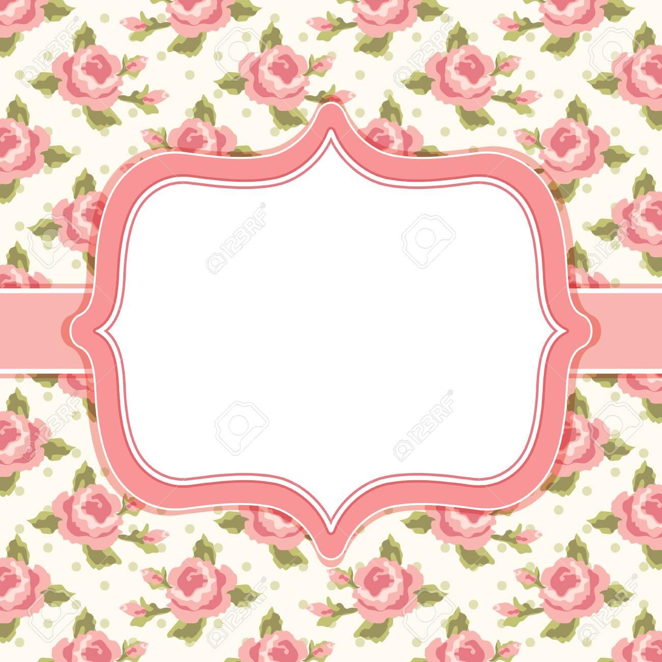 Cornici Stile Shabby Chic.Cornice Floreale Retro Con Rose In Stile Shabby Chic