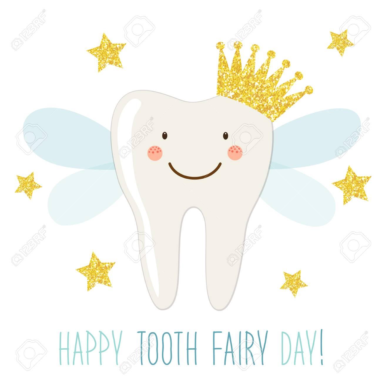 Lindo Cartao Para O Dia De Fada Dos Dentes Como Personagem De