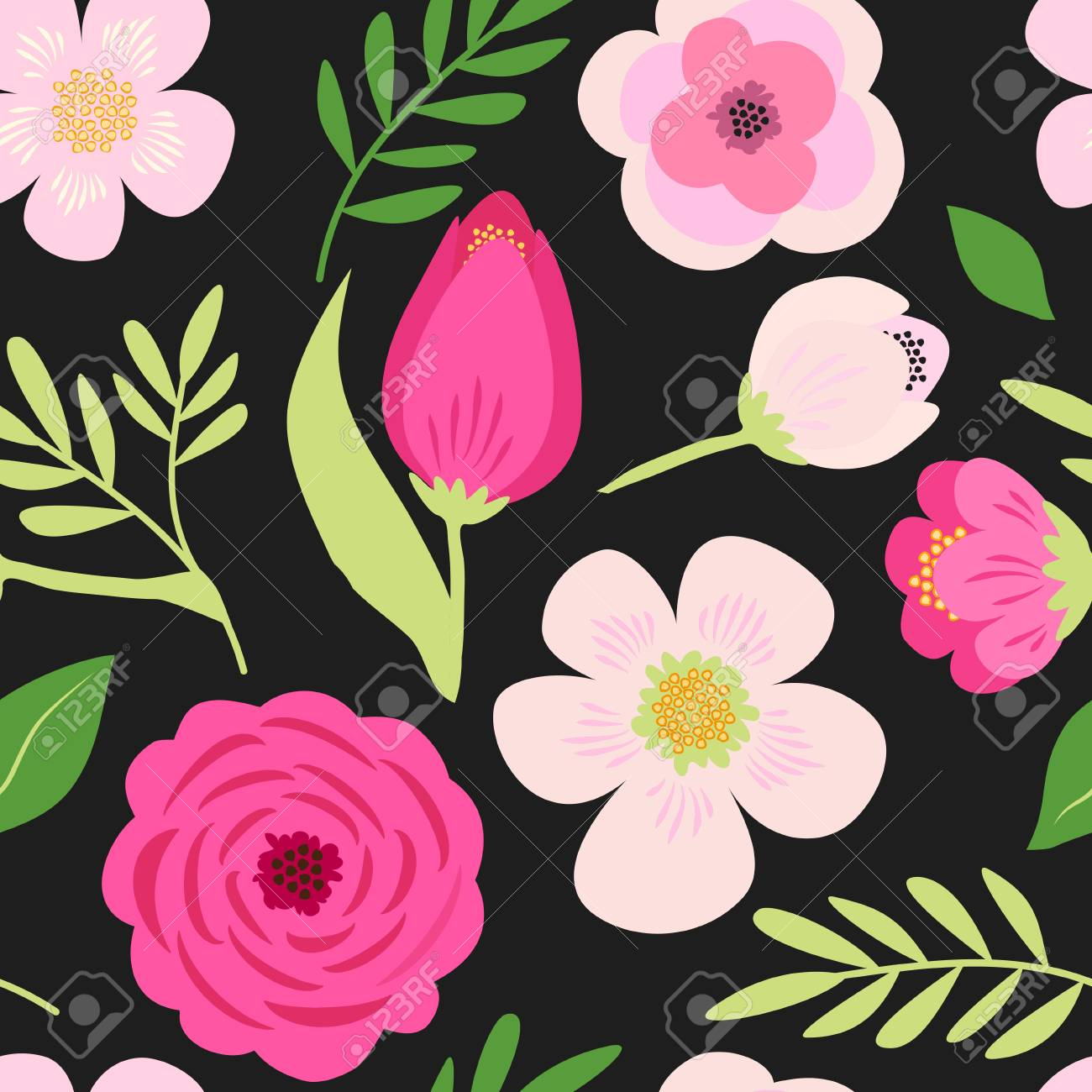 Cute seamless hand drawn spring pattern with primitive rustic flowers and leaves - 95342481