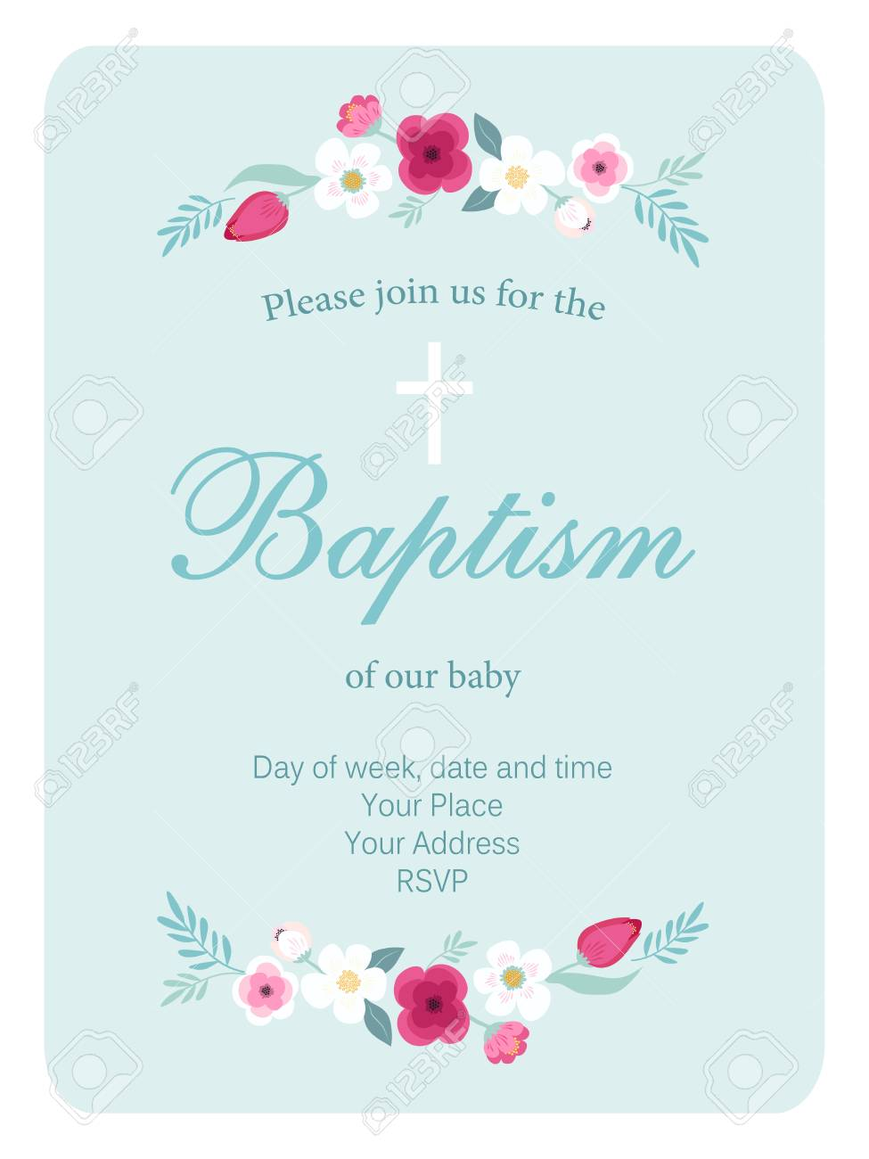 cute vintage baptism invitation card with hand drawn flowers royalty