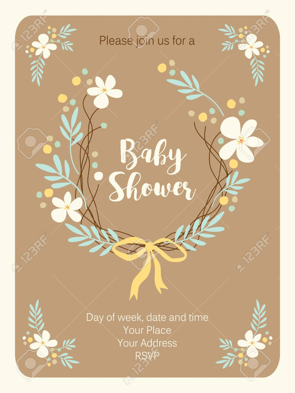 Cute vintage Baby Shower invitation card with hand drawn flowers Stock  Vector - 95888822