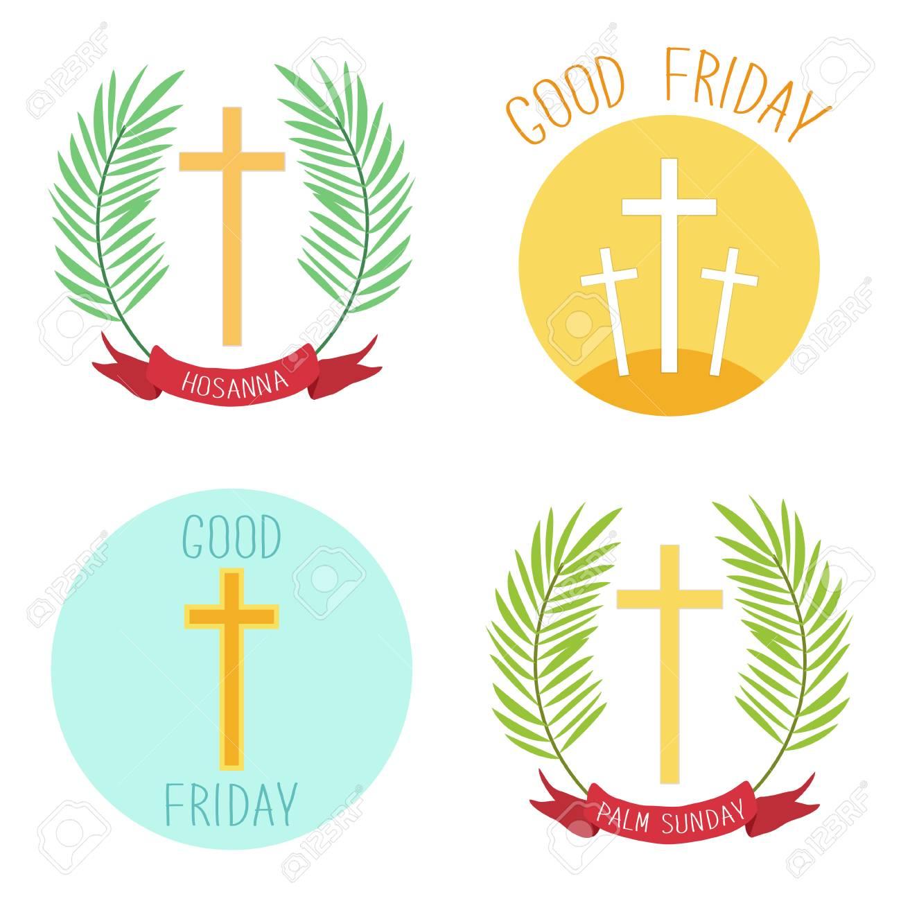 Palm Sunday and Good friday icons as religious holidays symbols - 95891252