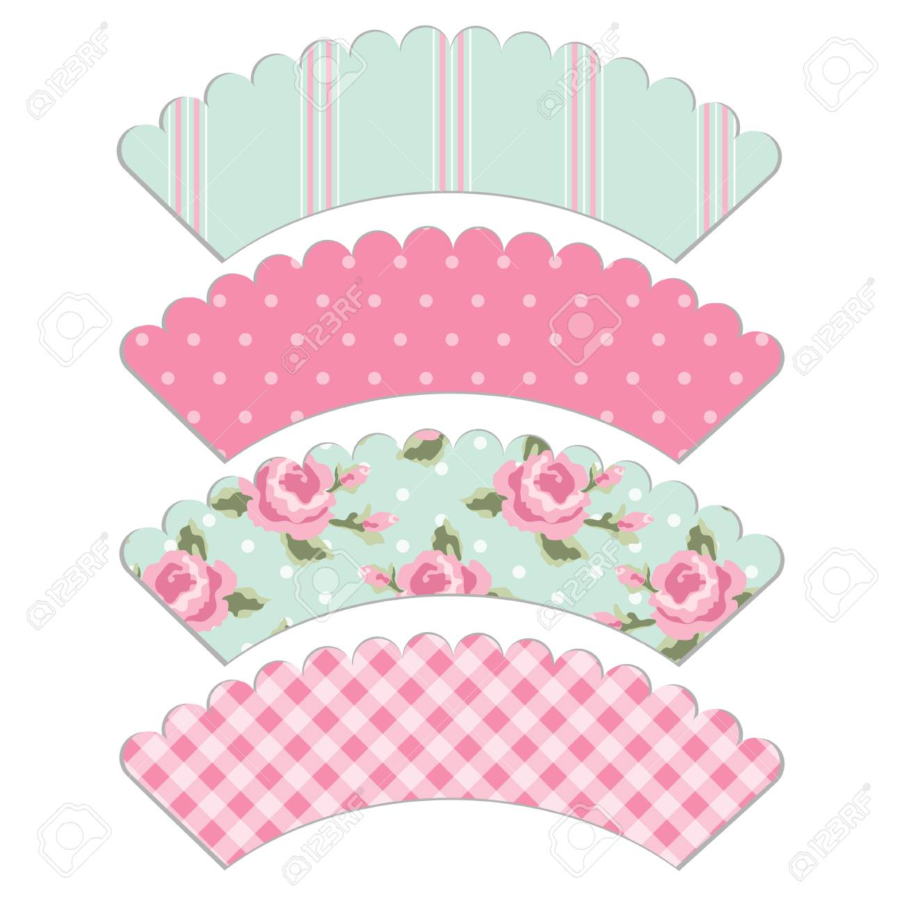 Cupcake Wrapper Template | Set Of Retro Cupcake Wrapper Templates In Shabby Chic Style Royalty