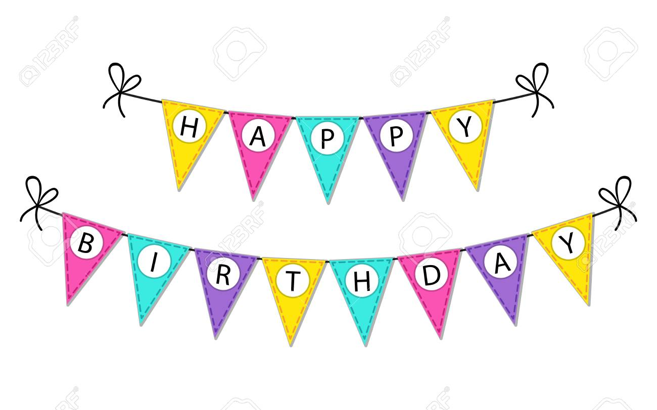 cute happy birthday bunting flags banner with letters royalty free