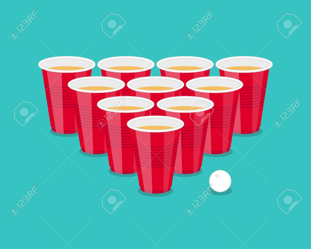 Beer Pong Tournament Flyer As Red Cups And Ping Ball Stock Vector