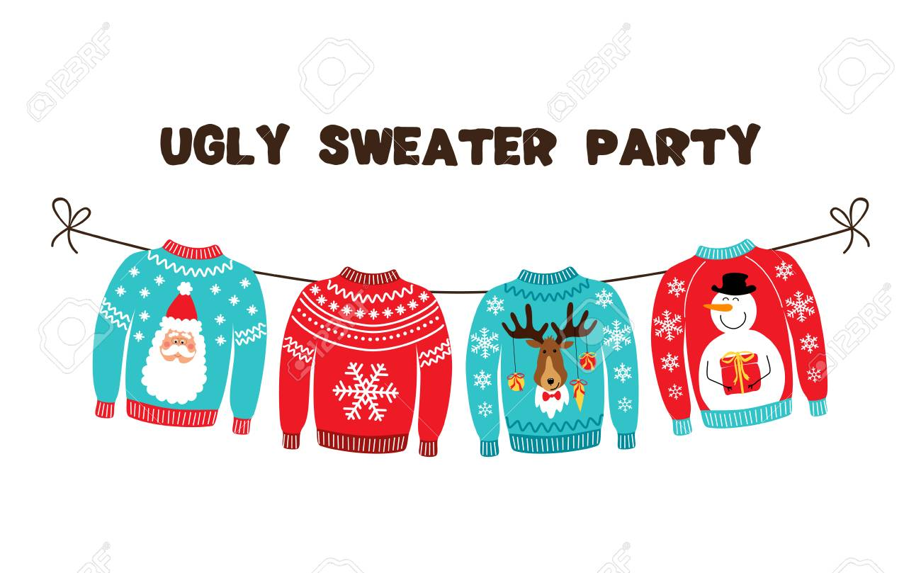 Cute Banner For Ugly Sweater Christmas Party For Your Decoration Royalty Free Cliparts Vectors And Stock Illustration Image 110347174