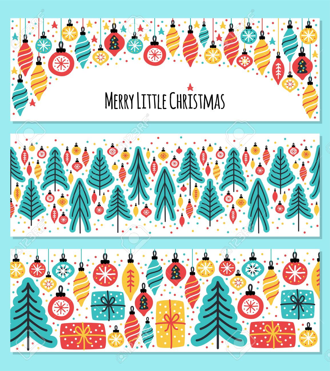 Christmas Backgrounds Cute.Cute Set Of Merry Little Christmas Horizontal Banner Backgrounds
