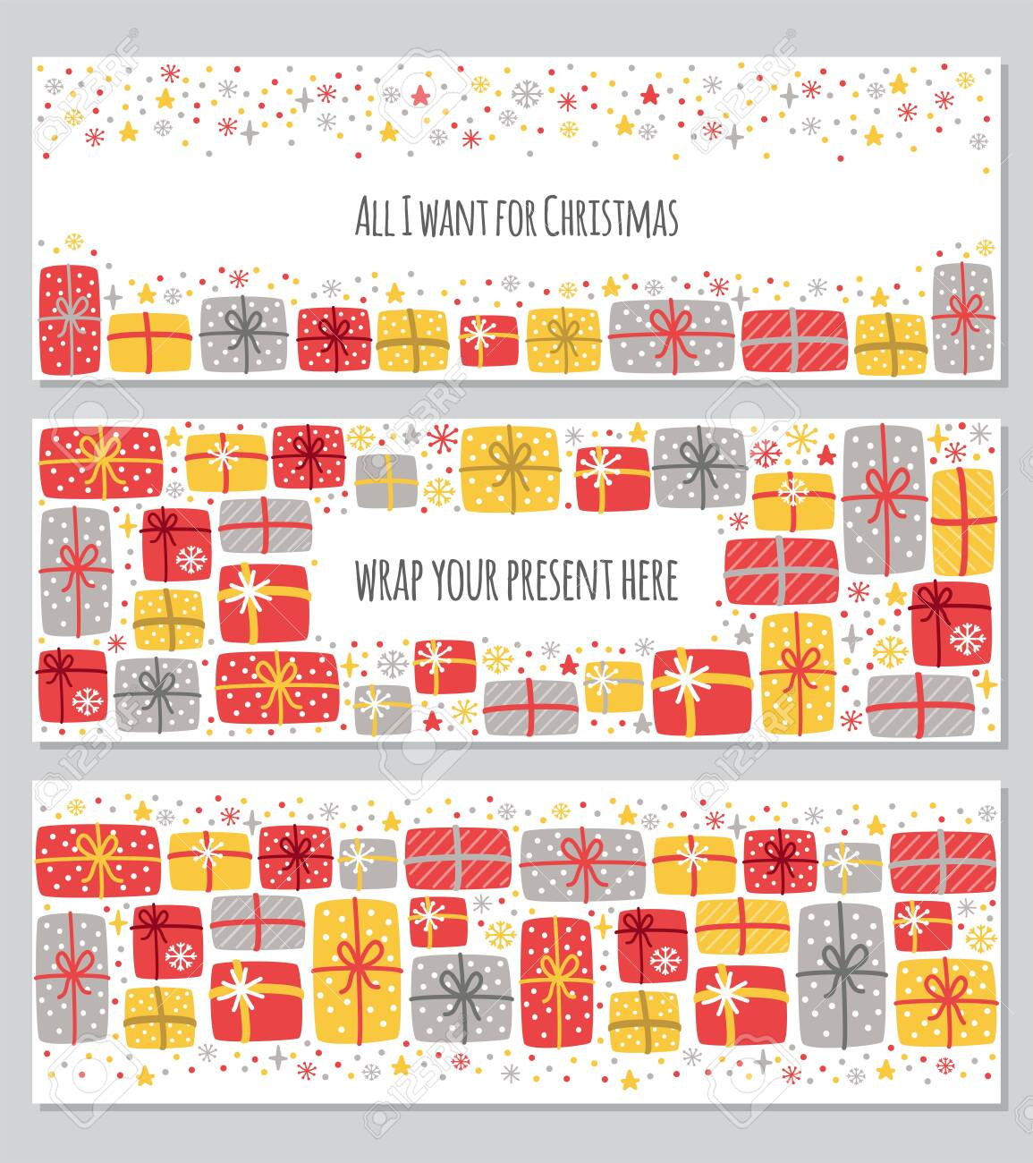 Christmas Backgrounds Cute.Cute Set Of All I Want For Christmas Backgrounds With Hand Drawn
