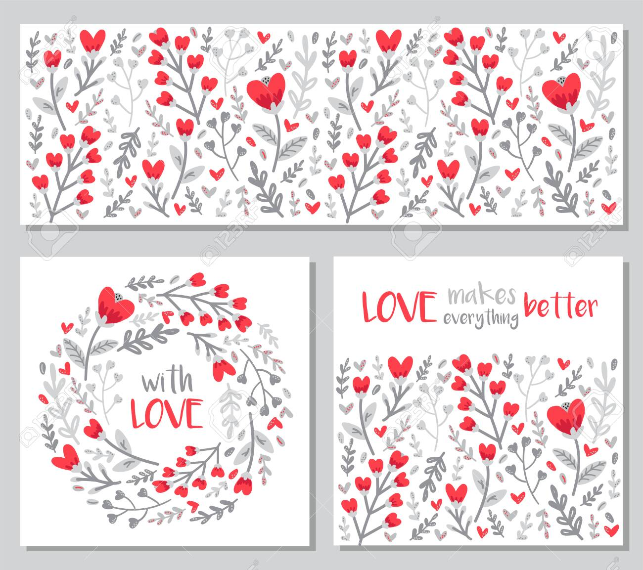 Cute Set Of Valentines Day Floral Backgrounds With Hand Drawn
