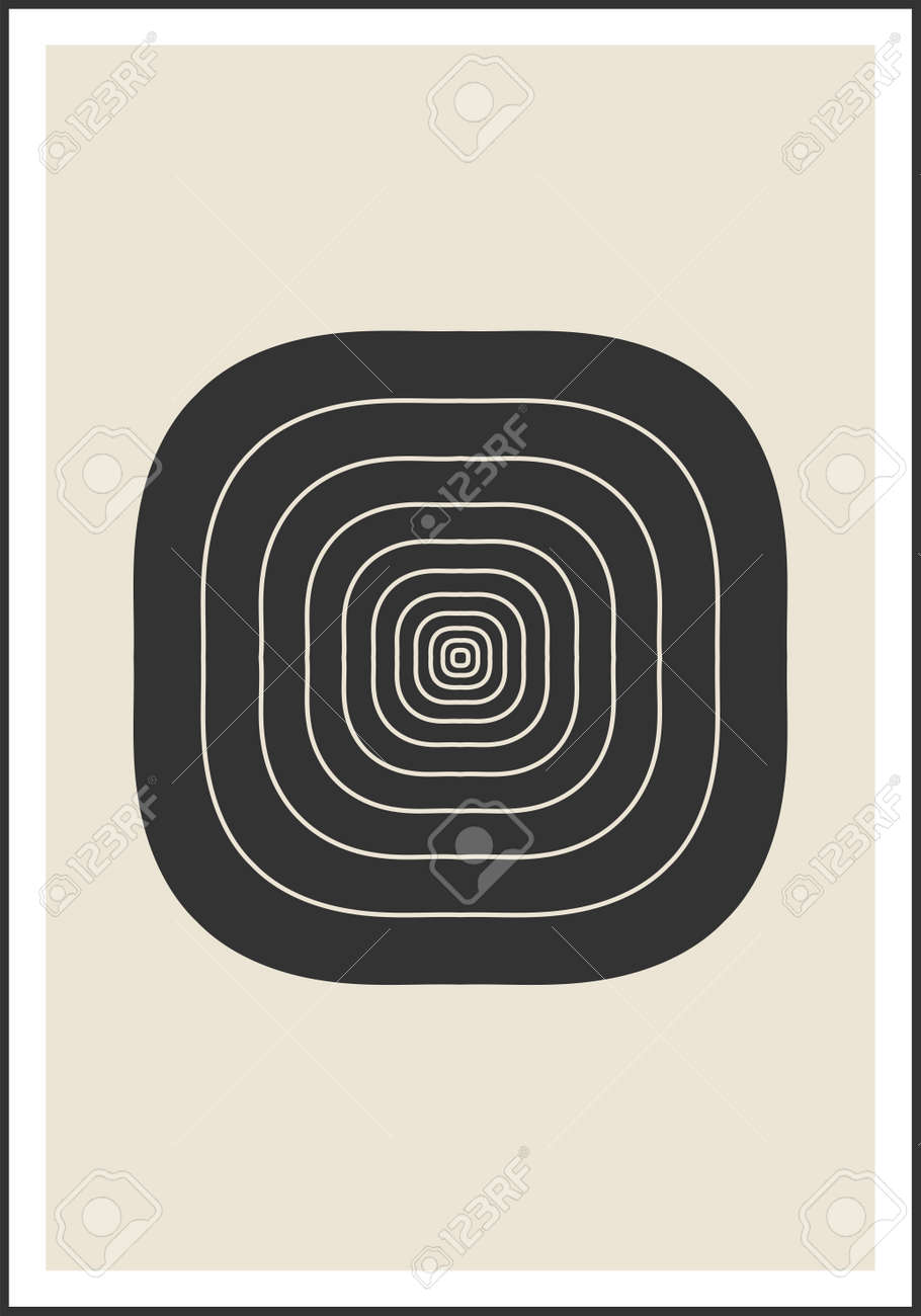 Minimal 20s geometric design poster, vector template with primitive shapes - 169975434