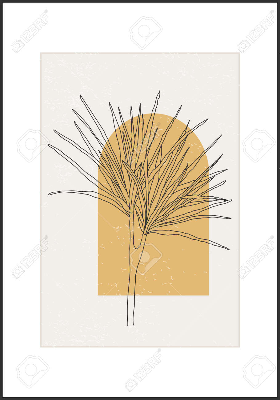 Minimalist botanical line art flower abstract collage - 169626200